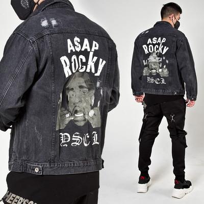 Distressed charcoal denim jacket