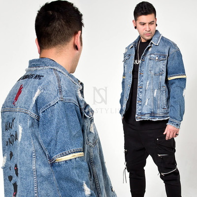 Distressed zipper sleeve denim jacket
