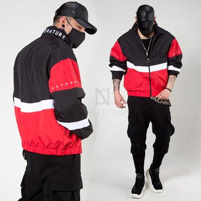 Contrast wind-breaker zip-up jacket