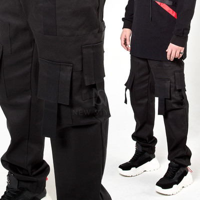 Multiple strap square pocket banded pants