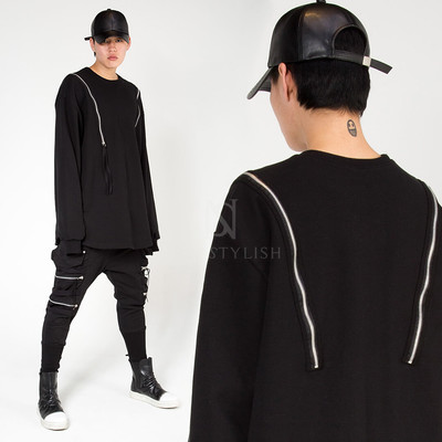 Shoulder double zippered long sleeve shirts