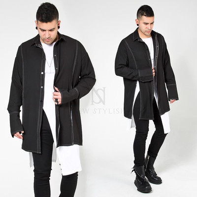 Multiple opening stitch long button-up shirts
