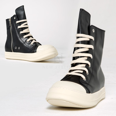 Contrast leather high-top sneakers