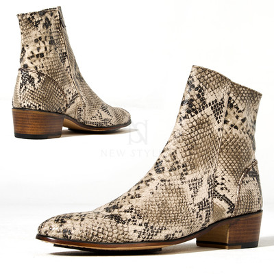 Snake patterned leather high heel ankle boots