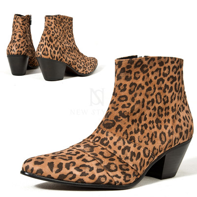 Leopard patterned leather high heel western ankle boots