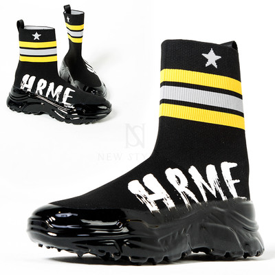 Glossy thick sole socks sneakers