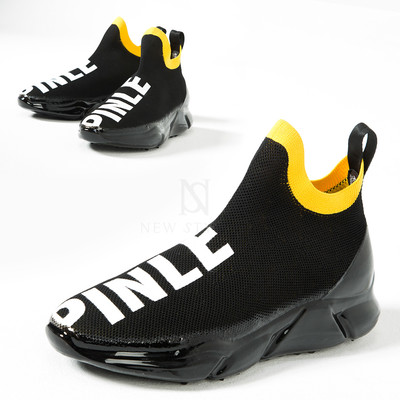 Glossy thick sole mesh ankle sock sneakers