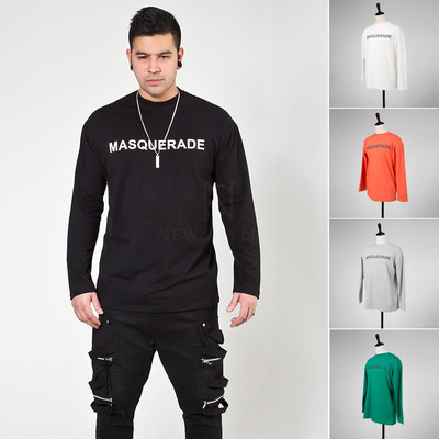 Lettering printed basic long sleeve t-shirts