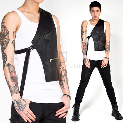 One side leather vest