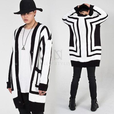 Uniquely striped knit long cardigan