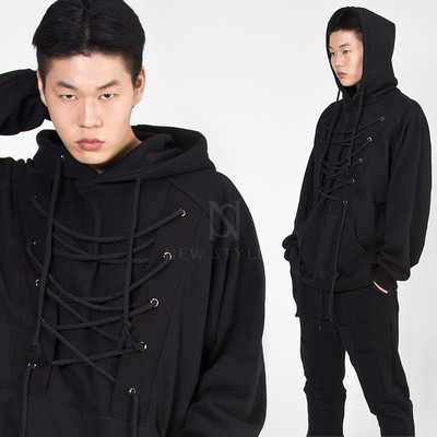 Eyelet rope strap hoodie