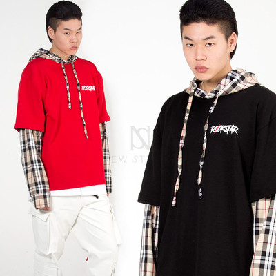 Checkered contrast layered hoodie