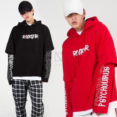 Lettering printed layered hoodie