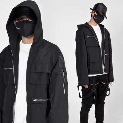 Multiple pockets techwear hooded zip-up jacket