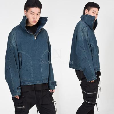High-neck denim anorak jacket