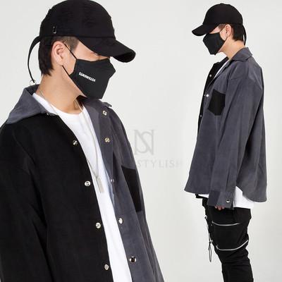 Half contrast corduroy shirt jacket