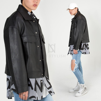 Basic trucker leather jacket