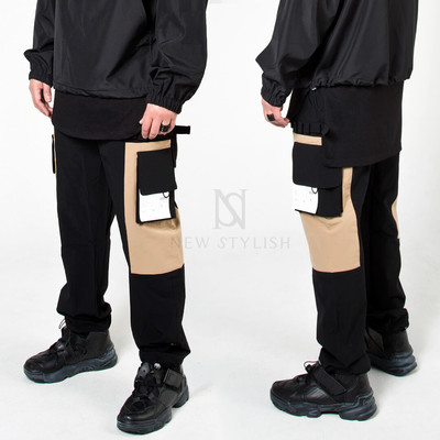 Square pocket contrast banded pants