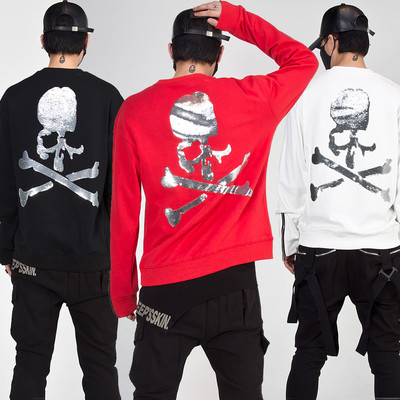 Silver spangle skull zippered sleeves sweatshirts