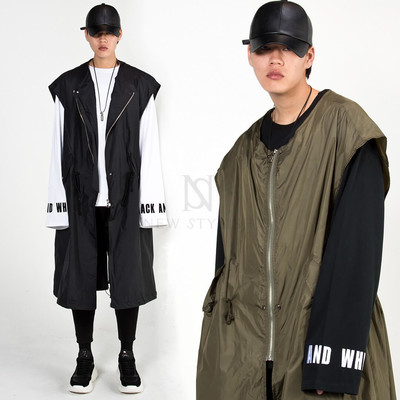 Oversized long zip-up vest