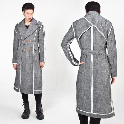 Double breasted linen long coat