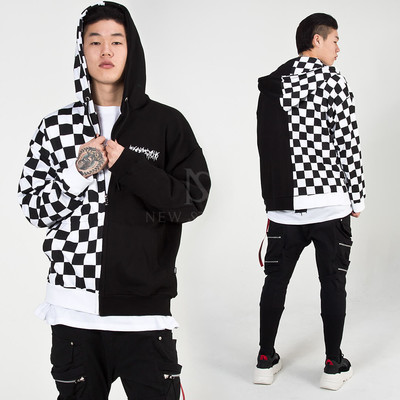 Half chess checkered contrast zip-up hoodie