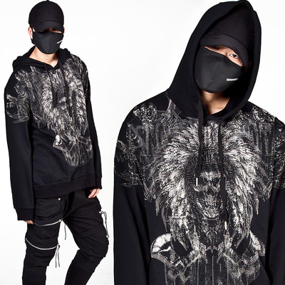 Beads stud Indian warrior skull hoodie