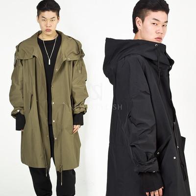 Avant-garde big hooded long jacket