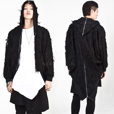 Swallowtail hooded zip-up jacket