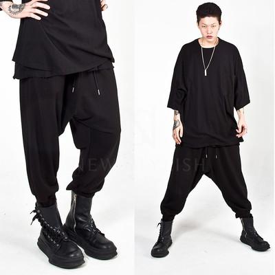 Plain loose baggy banded pants