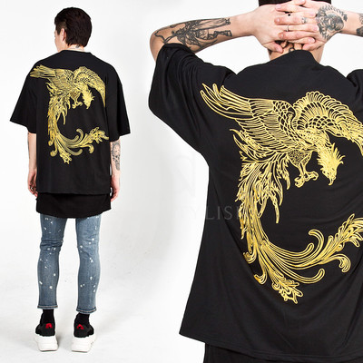 Gold oriental phoenix embroidered t-shirts