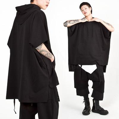 Avant-garde unbalanced cape hoodie