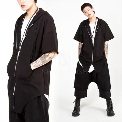 Avant-garde tail cut hem zip-up hoodie