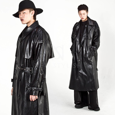 Belted black long trench leather coat