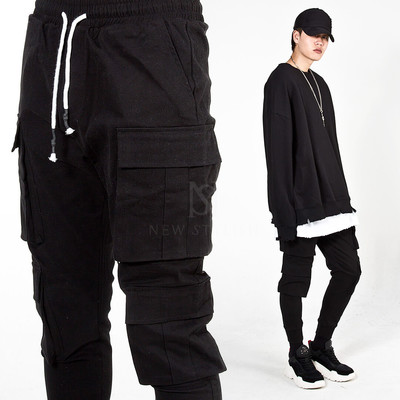 Double cargo banded pants