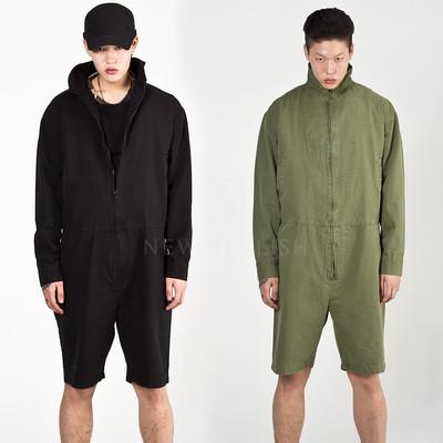 Denim zip-up Half jumpsuit