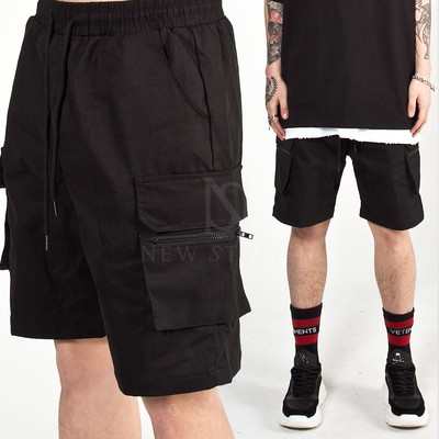 Zipper cargo pocket banded shorts
