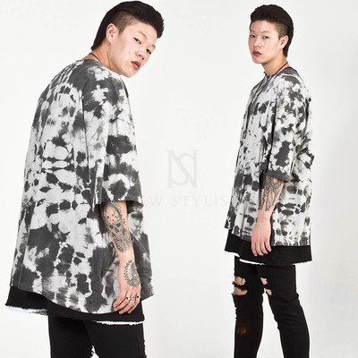 Unique water spray printed loose t-shirts