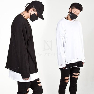 Distressed hole hem long sleeve t-shirts
