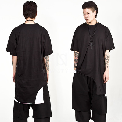 Unbalanced hem long t-shirts