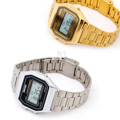 Retro metal digital watch
