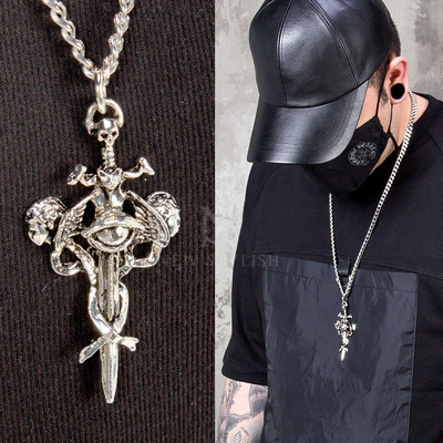 Skull sword charm chain necklace