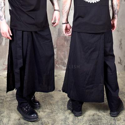 Detachable wrap skirt linen pants