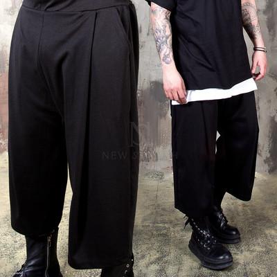 Pleated wide crop pants