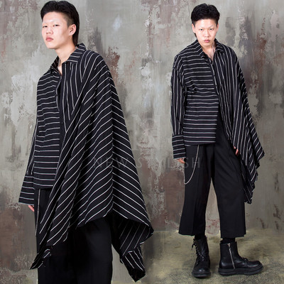 Striped one sleeve asymmetric cape shirts