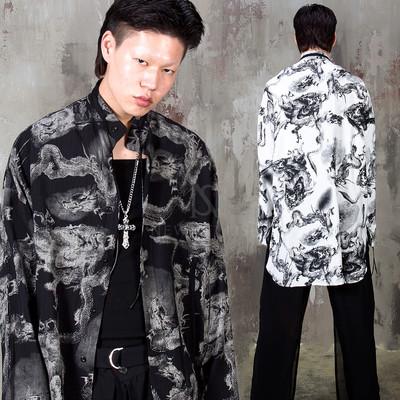 Oriental dragon Mandarin collar long shirts