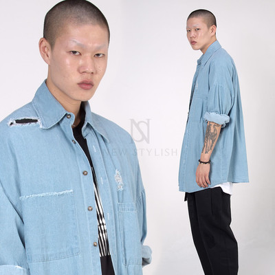 Distressed light blue denim shirts