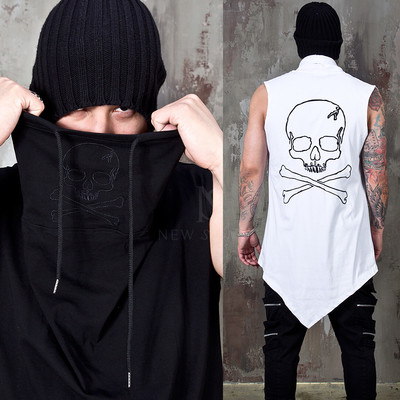 Embroidered skull turtleneck sleeveless shirts