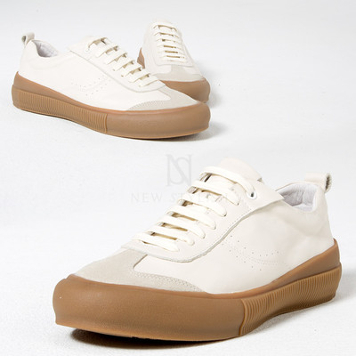 Contrast lace-up sneakers  - Crafted from top quality cow leather and rubber.  - Sophisticate white & beige contrast design.  - Matches well with casual style.