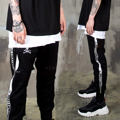 Side zipper skull sweatpants